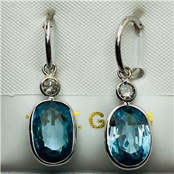 43) 14K WHITE GOLD BLUE TOPAZ & DIAMOND EARRINGS