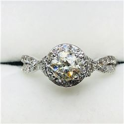44) 10K WHITE GOLD DIAMOND RING