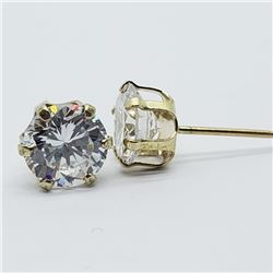 45) 10K YELLOW GOLD CUBIC ZIRCONIA EARRINGS