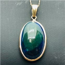 46) 14K GOLD BLACK OPAL PENDANT W/ 10K CHAIN