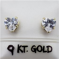 49) 9K YELLOW GOLD CUBIC ZIRCONIA EARRINGS