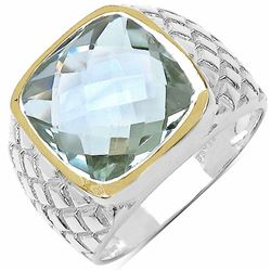 110) RHODIUM PLATED GREEN AMETHYST RING