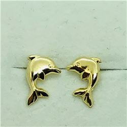 116) 14KYELLOW GOLD DOLPHIN SCREWBACK EARRINGS