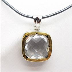 117) RHODIUM PLATED CRYSTAL NECKLACE