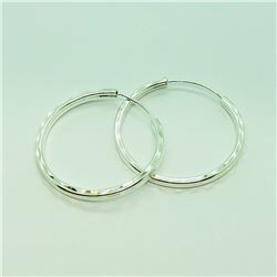 119) STERLING SILVER HOOP EARRINGS
