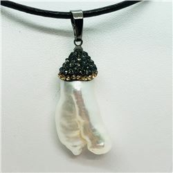 120) PEARL AND BEAD PENDANT WITH CORD NECKLACE