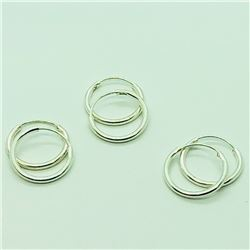 126) THREE PAIRS OF STERLING SILVER HOOP EARRINGS