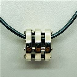 128) STERLING SILVER BEAD WITH CORD NECKLACE