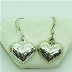 138) STERLING SILVER HEART SHAPED EARRINGS