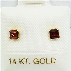 148) 14K YELLOW GOLD GARNET EARRINGS