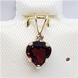 151) 10K YELLOW GOLD GARNET & WHITE TOPAZ PENDANT
