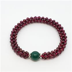 152) GENUINE GARNET & GREEN AGATE BRACELET