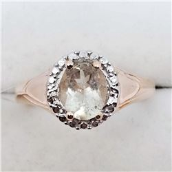 153) ROSE GOLD PLATED ST. SILVER MORGANITE RING