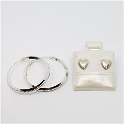 154) LOT OF TWO HEART SHAPED AND HOOP EARRINGS