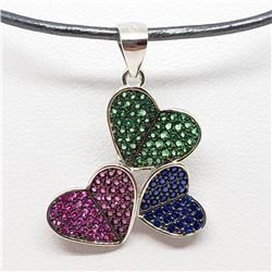 163) STERLING SILVER CZ PENDANT W/ CORD NECKLACE