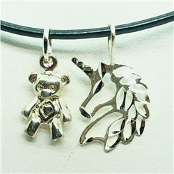 181) STERLING SILVER 2 PENDANTS W/ CORD NECKLACE