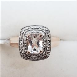 195) ROSE GOLD PLATED ST. SILVER MORGANITE RING