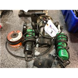 LOT OF POWER TOOLS INC. PORTER CABLE ROUTER, AND 2 HITACHI GRINDERS