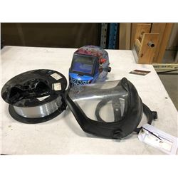 2 WELDING MASKS, GOGGLES AND ROLL OF .9 MM ALUMINUM MIG WIRE