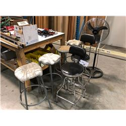 LOT OF ASSORTED STOOLS AND FAN