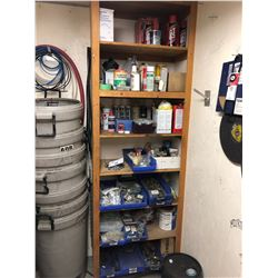 CONTENTS OF SHELVING UNIT INCLUDING HARDWARE, PAINT, LUBRICANTS AND MORE