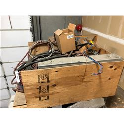 CRATE OF ASSORTED HEAVY DUTY CABLING, FUSES, AND ASSORTED ELECTRICAL
