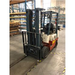 NISSAN 4400 LB CAPACITY PROPANE FORKLIFT, MODEL CPJ02A25PV, SOLID TIRES, SIDE SHIFT, 8072 HOURS