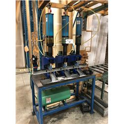 3 HEAD PNEUMATIC PUNCH SETUP WITH BENCH AND AIR TANK