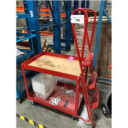 RED MOBILE WAREHOUSE CART WITH BUILT IN LADDER