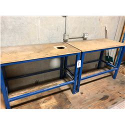 WORK BENCHES ON MEZZANINE INC. RUN OF WOOD BENCHES, AND THREE SMALL BLUE METAL BENCHES