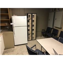CONTENTS OF BREAK ROOM INC. FRIDGE, LOCKERS, TABLE, CHAIRS, AIR CONDITIONER AND MORE, MUST TAKE ALL