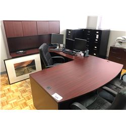 CHERRY EXECUTIVE OFFICE SUITE WITH HUTCH, 2 STORAGE CABINETS & EXECUTIVE OFFICE CHAIR