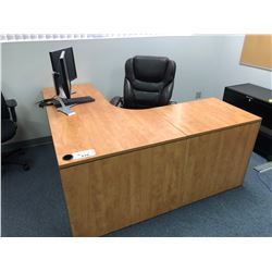 MAPLE L-SHAPED OFFICE DESK WITH EXECUTIVE OFFICE CHAIR