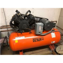 DEVAIR MODEL 447 4 CYLINDER DUAL STAGE ELECTRIC AIR COMPRESSOR, 175 PSI, 120 GALLON TANK,
