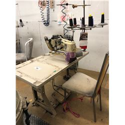 YAMATO MODEL FD-62-12MR 4 NEEDLE, 6 THREAD FLAT SEAMER MACHINE WITH STATION AND EFKA AB220