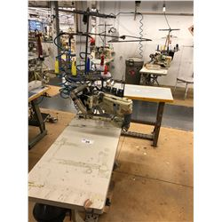 YAMATO MODEL FD-62G-12MR 4 NEEDLE, 6 THREAD FLAT SEAMER MACHINE WITH STATION AND EFKA AB221A