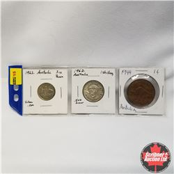 Australia (2 coins):  6 Pence Silver 1962, 1 Shilling Silver 1962, 1 Cent 1944