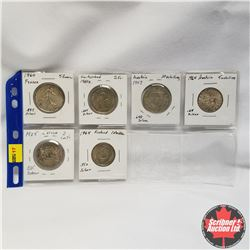 European (6 coins - all Silver issue):  1960 France 5 Francs, 1960 Switzerland 2 Francs, 1957 Austri