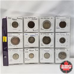 Belgium/Netherlands - 12 Coins: Assorted years 1905-1960, 10 Silver, 2 Copper