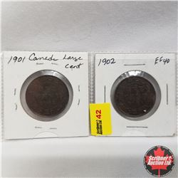 Canada Large Cents - Strip of 2:  1901 & 1902