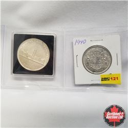 Canada - Strip of 2: 1940 Canada 50¢ & 1939 Silver Dollar in Quadrum