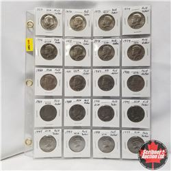 USA Half Dollars - Sheet of 20: Assorted 1971-1974; 1976-1984; 1988; 1990; 1993; 1995; 1997-1999