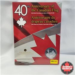 """2005 Brilliant Uncirculated Silver Dollar & Interactive CD-ROM """"40th Anniversary Of Canadian Flag"""""""
