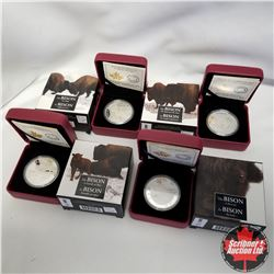 2014 Canada Bison Series $20 Fine Silver Coins - SERIES of 4: A Portrait, A Family at Rest, The Bull