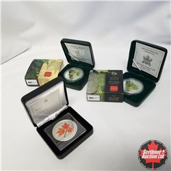 Group of 3: 2001, 2002 & 2003 Canada $5 Fine Silver Colored 1 oz. Maple Leaf Coins