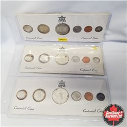 Centennial Sets (3): 1867-1967 Canada Silver Proof Year sets (One dime missing from one Set)