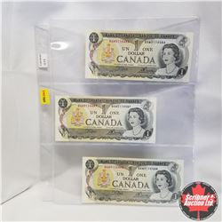 1973 Canada $1 Bills (3 Sequential): BAW5116486/87/88, Crow/Bouey