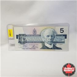 1986 Canada $5 Bill, Yellow Bank Plate Number, UNC ENA6288312, Crow/Bouey
