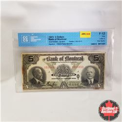 1923 Bank of Montreal $5  3518833 A (CCCS Graded: F-12 Fine) Williams-Taylor Meredith