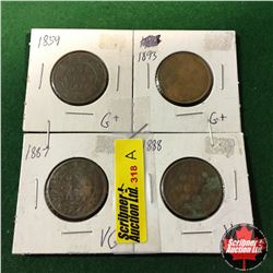 Canada Large Cent - Group of 4: 1859; 1893; 1887; 1888